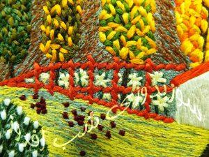 سوزندوزی طرحی از منظره پاییز- سوزندوزی شب افروز