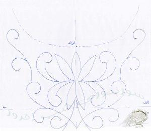 طرح مروارید دوزی روی لباس- سوزندوزی شب افروز