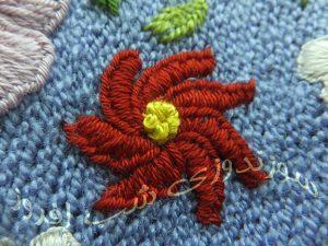 گل فرفره ای-سوزندوزی شب افروز