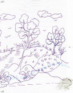 طرحی از یک منظره- سوزندوزی شب افروز
