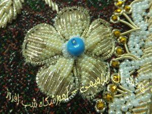 سرمه دوزی با طرح دو جقه- فاطمه آل ابراهیمی