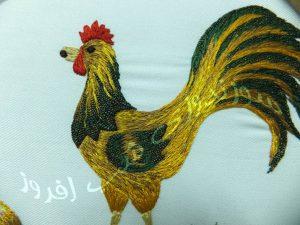 گلدوزی مرغ و خروس- سوزندوزی شب افروز