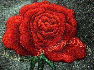 گلدوزی گل رز روی شلوار جین- سوزندوزی شب افروز