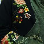 سوزندوزی گل رز و نقشی از پارچه