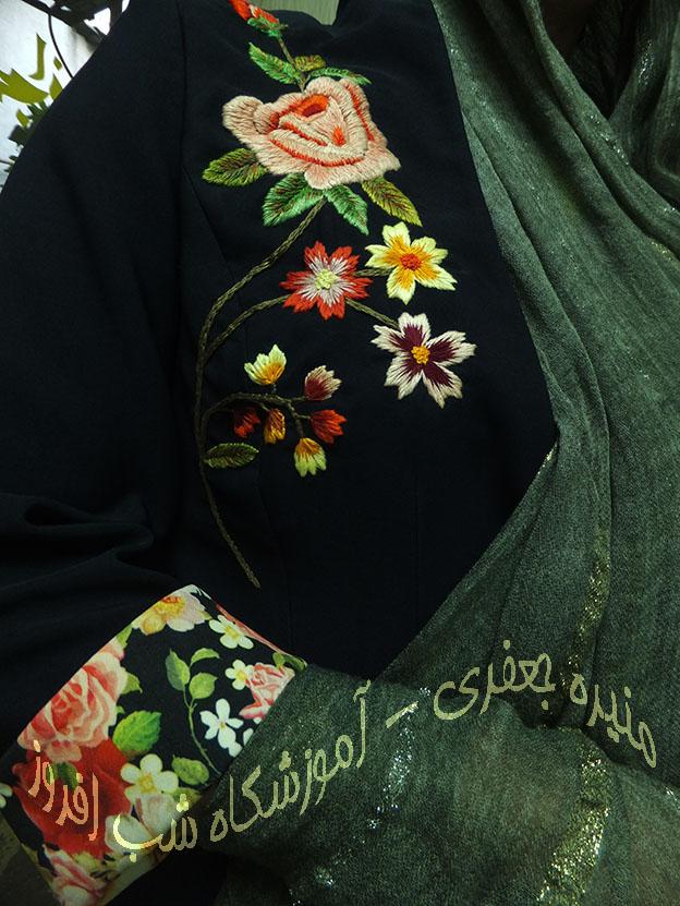 سوزندوزی گل رز- منیره جعفری