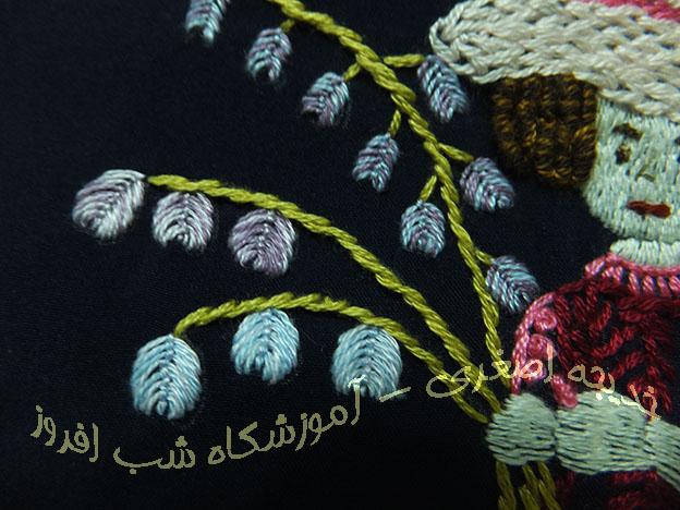 دوخت سرخسی و گلهای کوچک- خدیجه اصغری